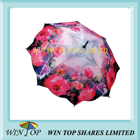 Wooden straight flower printing umbrella