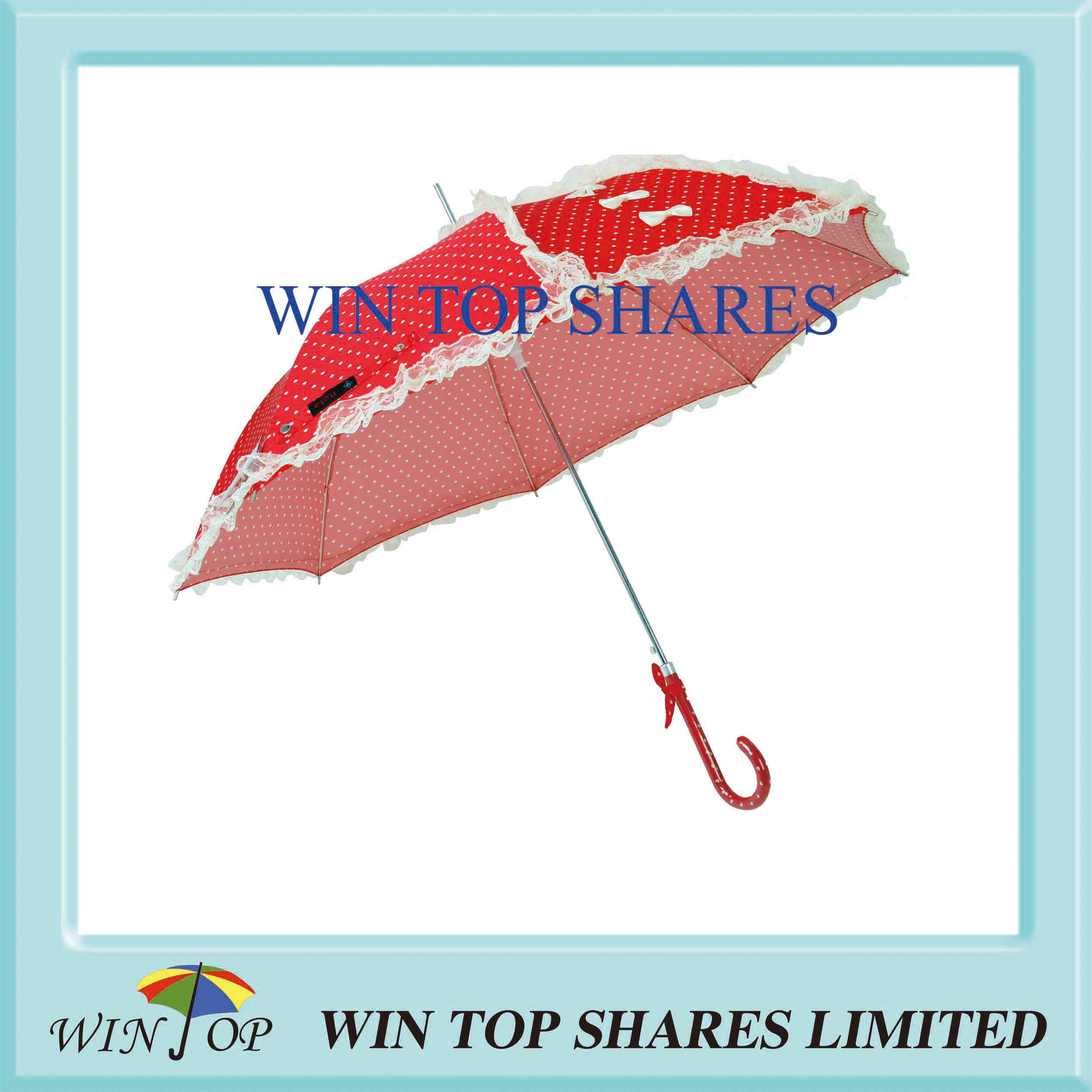 Red Auto Stick DOT Print Queen Umbrella with Lace
