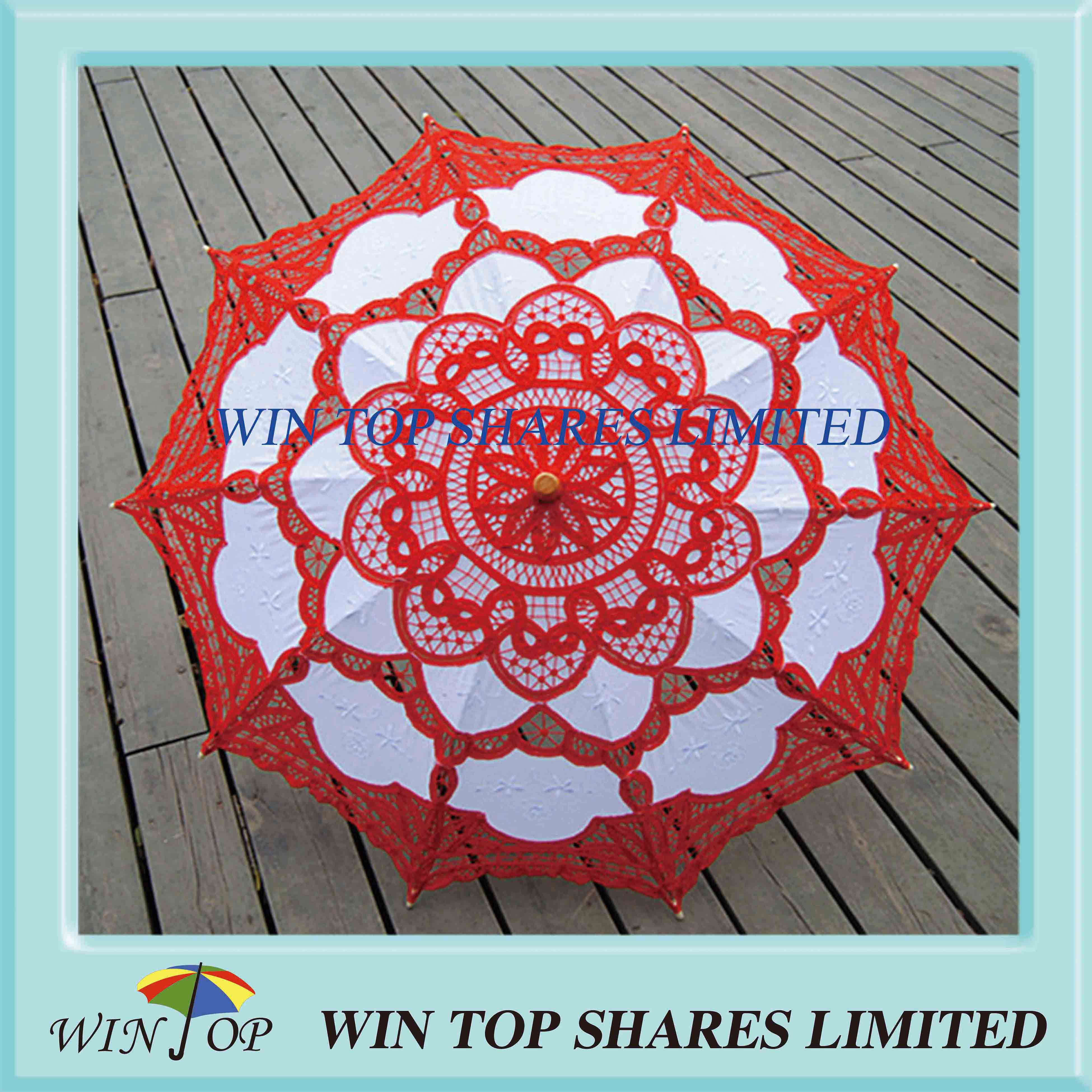 Chinese style red and white art parasol