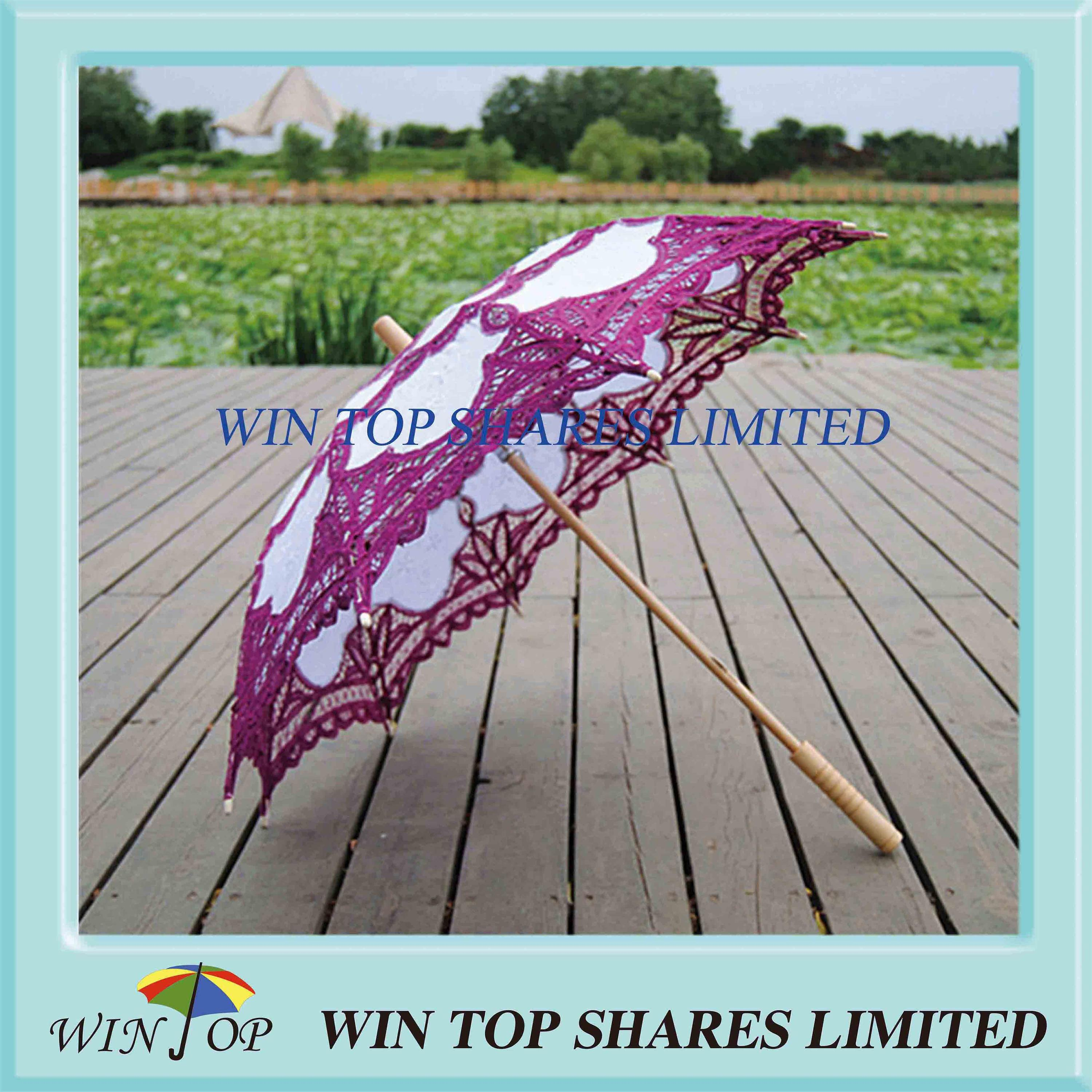 Classical purple and white cotton parasol
