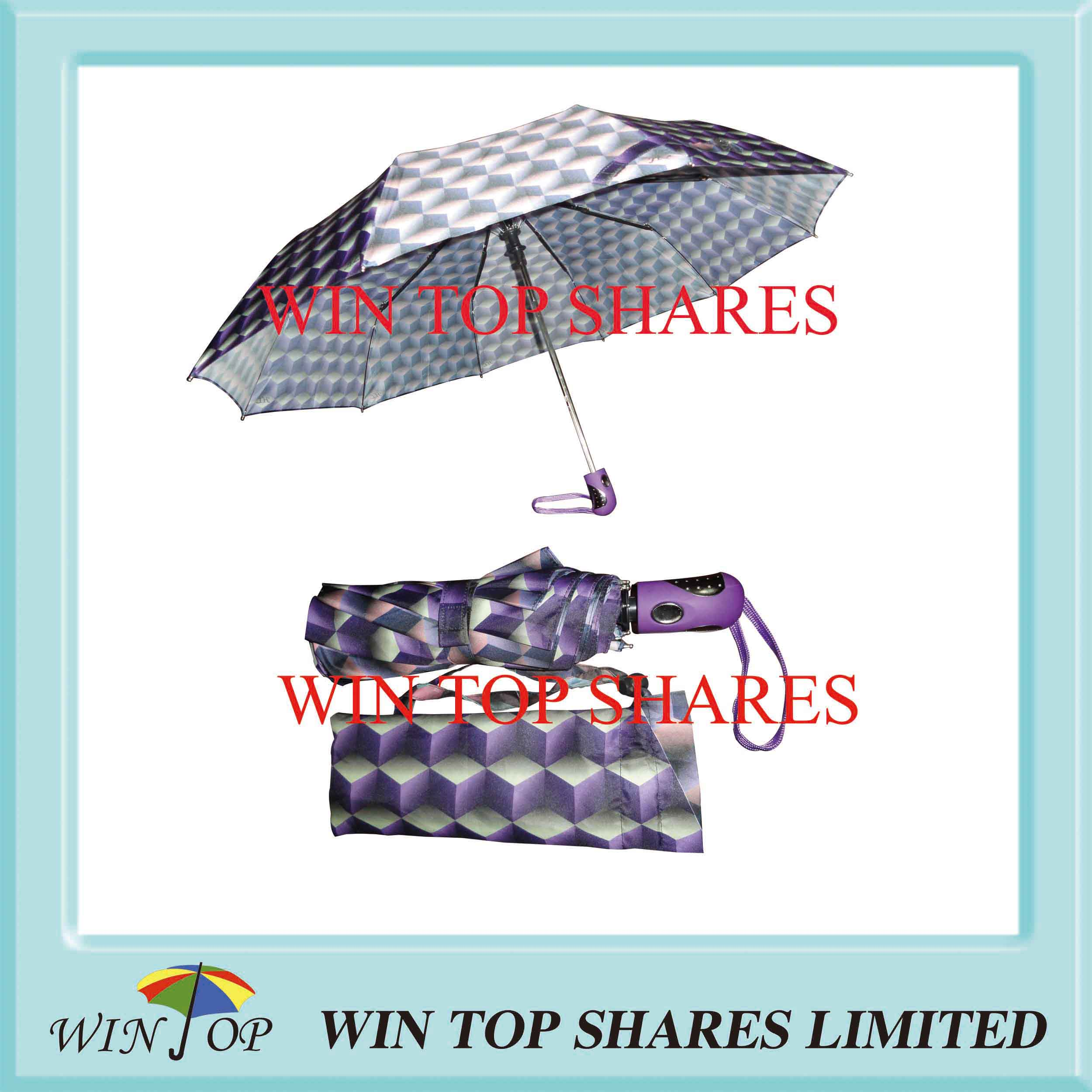 Water Cube hot transfer printing 3 Folds Umbrella